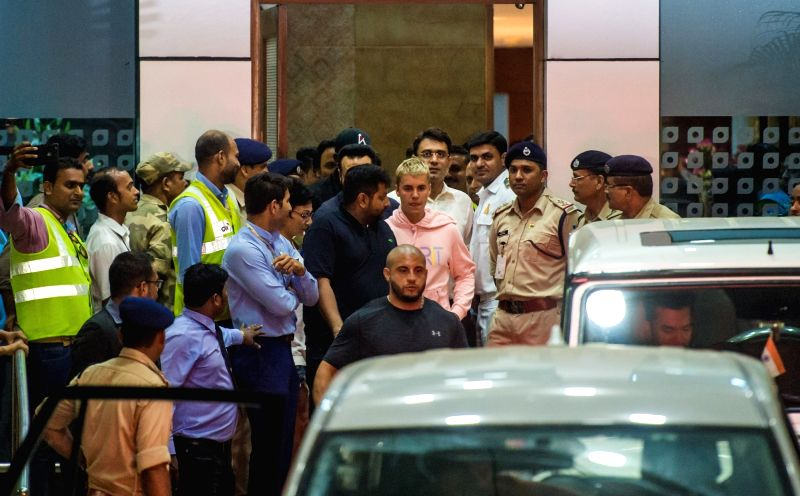 """Singer Justin Bieber arrives at Mumbai Airport on May 10, 2017. He is on """"Purpose World Tour"""" to promote his fourth album, the critically-acclaimed """"Purpose"""", in which he ..."""