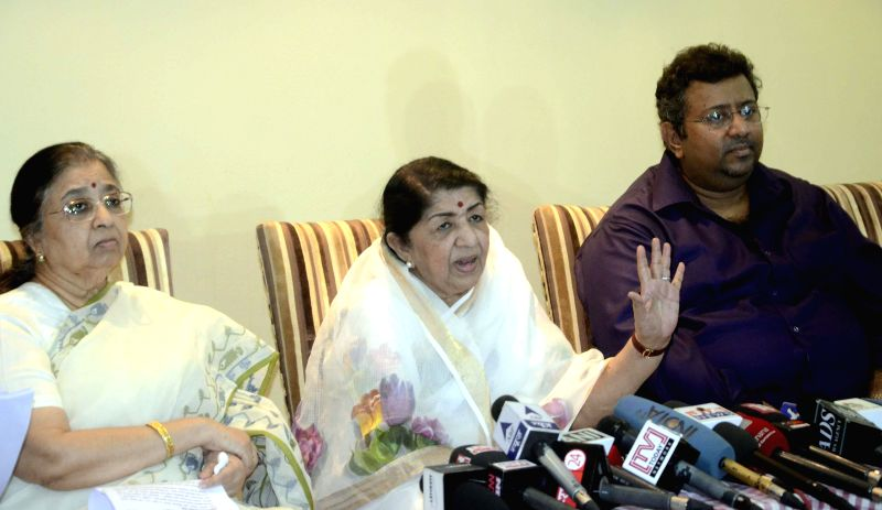 Singer Lata Mangeshkar during a press conference to announce Master Dinanath Mangeshkar awards in Mumbai on April 13, 2014.