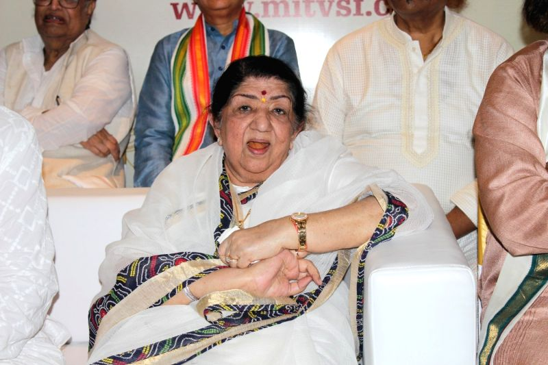 Singer Lata Mangeshkar during the press conference to announce the launch of Gurukal Vishwashanti Sangeet Kala Academy on May 12, 2017.