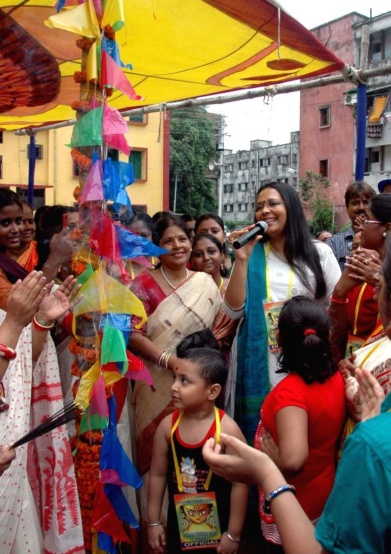Singer Lopamudra Mitra during `Khuti Puja` at Ultadanga in Kolkata on July 6, 2014.