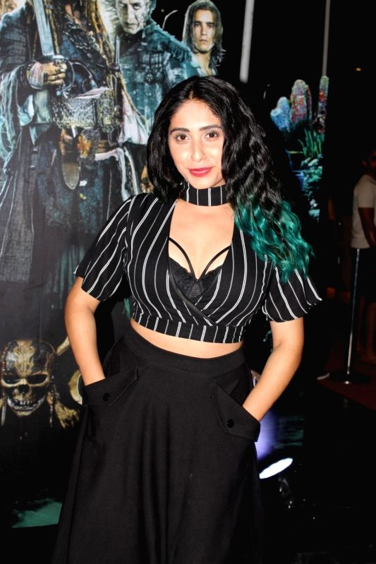 Singer Neha Bhasin during the screening of Hollywood film Pirates of The Caribbean: Salazar's Revenge in Mumbai on May 25, 2017.