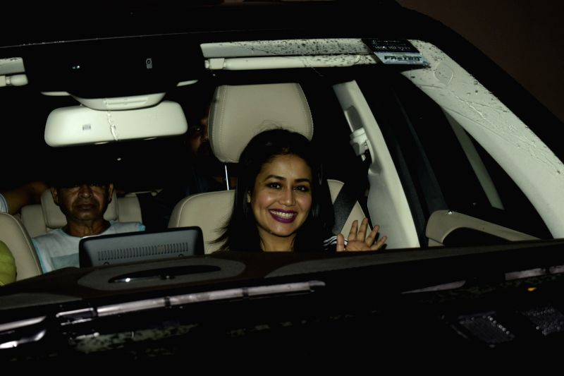 "Singer Neha Kakkar at the special screening of upcoming film ""Dhadak"" in Mumbai on July 18, 2018."