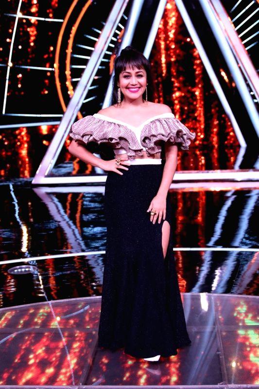 "Singer Neha Kakkar on the sets of singing reality show  ""Indian Idol 10"" in Mumbai on July 24, 2018."