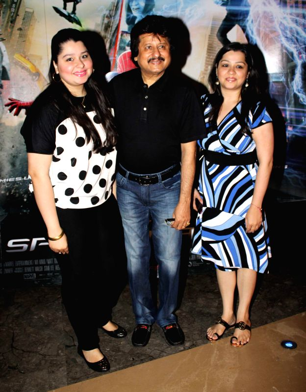Singer Pankaj Udhas with family during the screening of Hollywood film The Amazing Spider-Man 2 in Mumbai, on April 29, 2014.