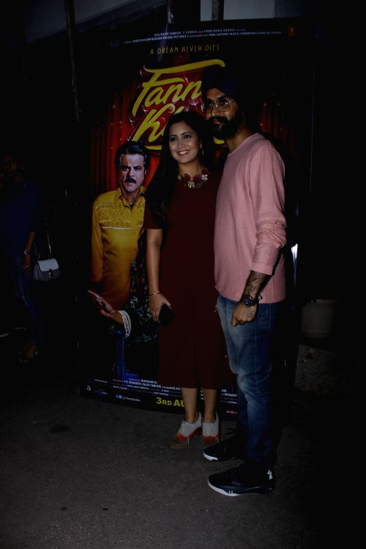 "Singer Rabbi Shergill and Harshdeep Kaur at the special screening of upcoming film ""Fanney Khan"", in Mumbai on Aug 1, 2018. - Harshdeep Kaur and Fanney Khan"