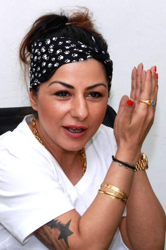 Singer-rapper Hard Kaur during an interview at IANS office in New Delhi on July 29, 2016. - Kaur