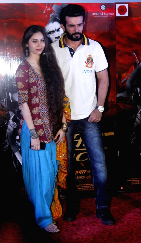 Singer Sasha Agha with actor Jay Bhanushali during a programme organised to launch the trailer of upcoming film `Desi Kattey` in Mumbai. - Jay Bhanushali