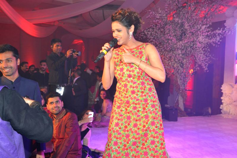 Singer Shalmali Kholgade at the Sangeet ceremony of Uday Singh - the brother is of actor Vikram Singh - and Shirin Morani in Mumbai. - Vikram Singh