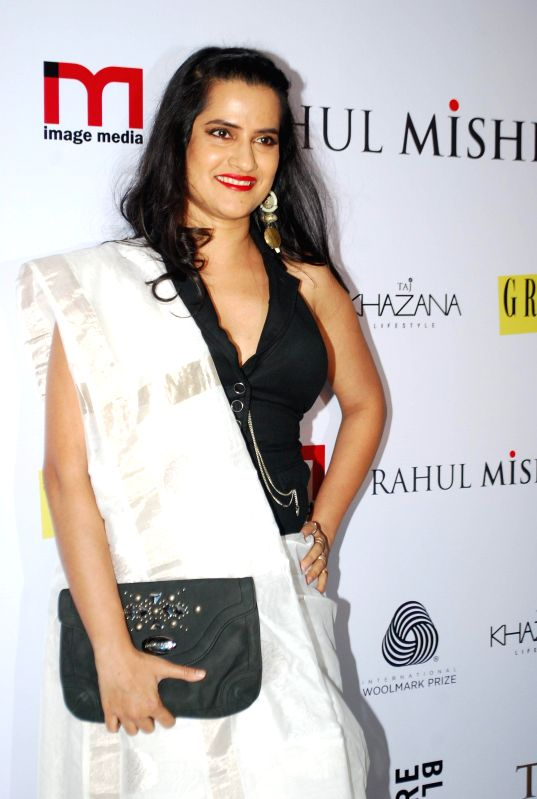 Singer Sona Mohapatra during the designer Rahul Mishra`s bash at Taj Lands End, in Mumbai, on Thursday as he celebrated six years in fashion industry with Grazia.