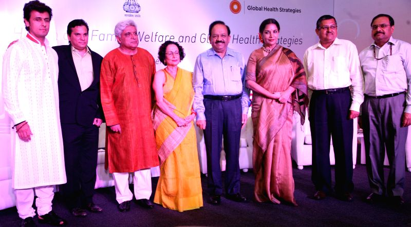 Singer Sonu Nigam, lyricist Javed Akhtar, journalist Bachi Karkaria, Union Health Minister Harsh Vardhan, actress Shabana Azmi, Secretary of Department of AIDS control Lov Verma and Additional ... - Harsh Vardhan, Sonu Nigam, Shabana Azmi, Lov Verma and K. Mishra