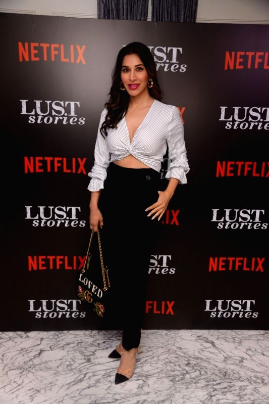 """Singer Sophie Choudry at the special screening of Netflix show titled """"Lust Stories"""" in Mumbai on June 13, 2018."""