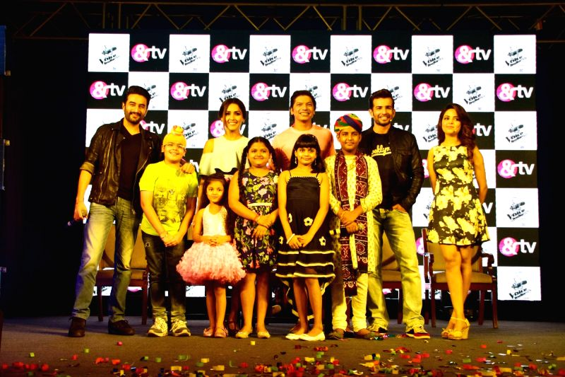 Singer Sugandha Mishra, music composer Shekhar Ravjian, singers Neeti Mohan, Shaan and actor Jay Bhanushali during the launch of &TV channel The Voice India Kids show, in Mumbai on July ... - Jay Bhanushali and Sugandha Mishra