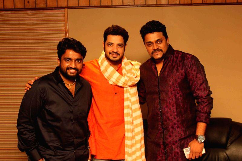 Singers Aadarsh Shinde, Swapnil Bandodkar and music composer Amit Raj during the song recording of Mangalmurthi Morya, a single audio on Lord Ganesha in Mumbai on 2 Aug, 2016.