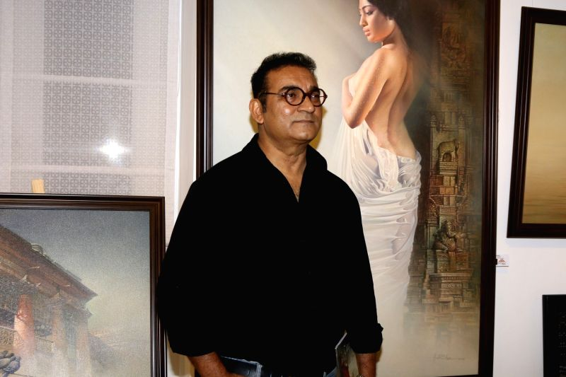 Singers Abhijeet Bhattacharya during an art exhibition in Mumbai on May 1, 2017.