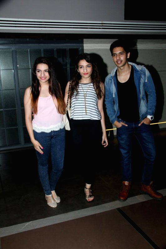 Singers Sukriti Kakar, Prakriti Kakar and Armaan Malik during the screening of Hollywood film Southpaw in Mumbai on July 27, 2015. - Malik