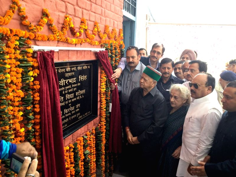 Himachal Pradesh Chief Minister Virbhadra Singh during the inaugurate Water Supply Scheme at Bata Mandi in Sirmaur district, Himachal Pradesh, on March 28, 2015.