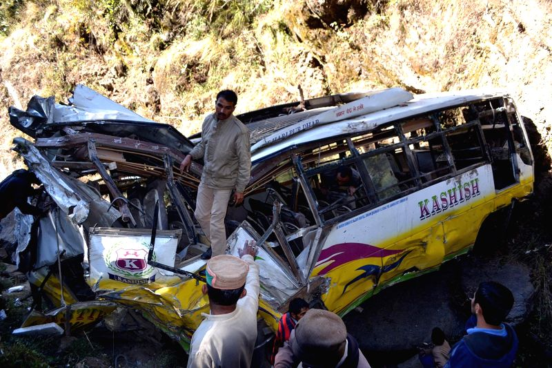 The privately-owned mini-bus which rolled down a 500-feet gorge in Himachal Pradesh's Sirmaur district killing seven people, including two women on Nov 23, 2014. The bus was going to Baddi ..
