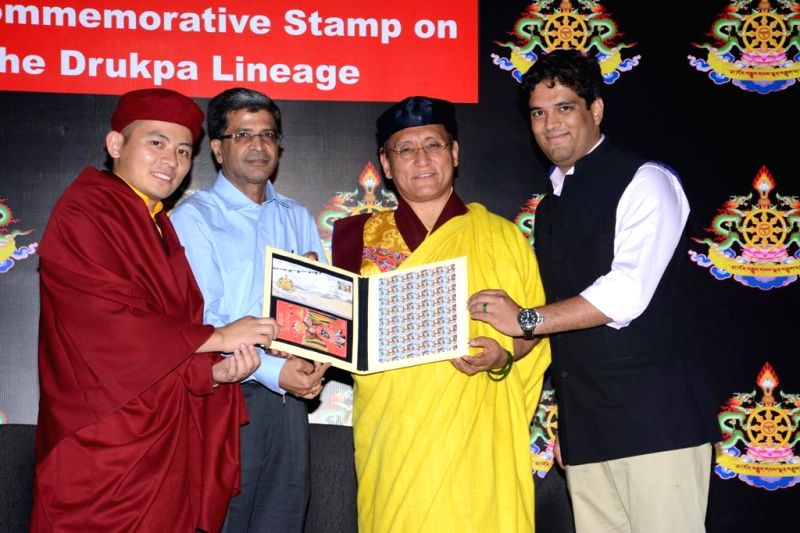 SK Sinha of Department of Post, spiritual head of Drukpa Buddhists Gyalwang Drukpa and spiritual regent of Drukpa lineage, Drukpa Thuksey Rinpoche release a stamp in honour of  Drukpa Lineage of ...