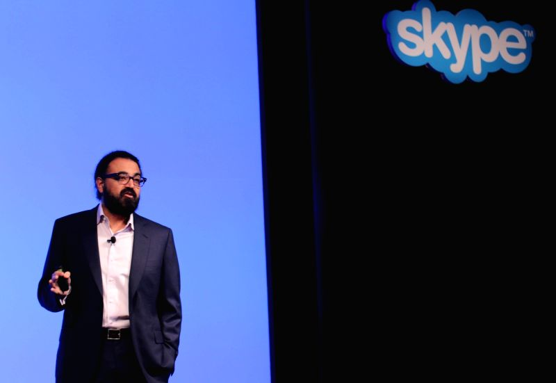 Skype Corporate Vice President Gurdeep Pall during a press conference regarding Mojis in New Delhi, on Oct 29, 2015.