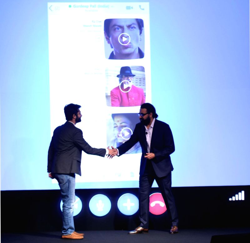 Skype Corporate Vice President Gurdeep Pall and Eros International Plc Kishore Lulla during a press conference regarding Mojis in New Delhi, on Oct 29, 2015.