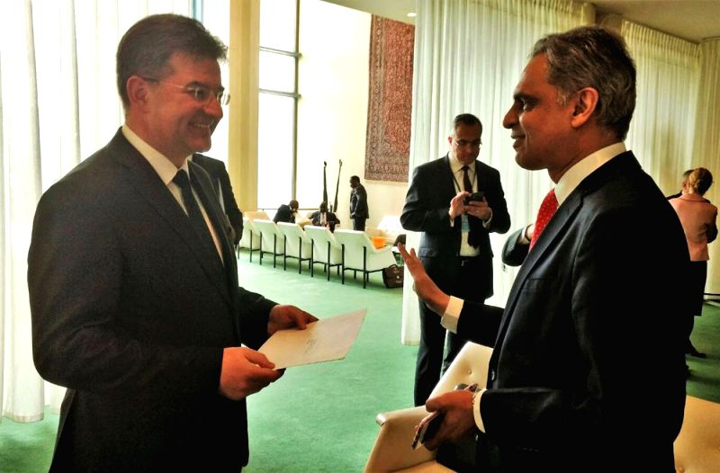 Slovak Foreign Minister Miroslav Lajcak, who was elected on Wednesday, May 31, 2017, as the United Nations General Assembly President for the next session starting in September, is greeted by ... - Miroslav Lajcak
