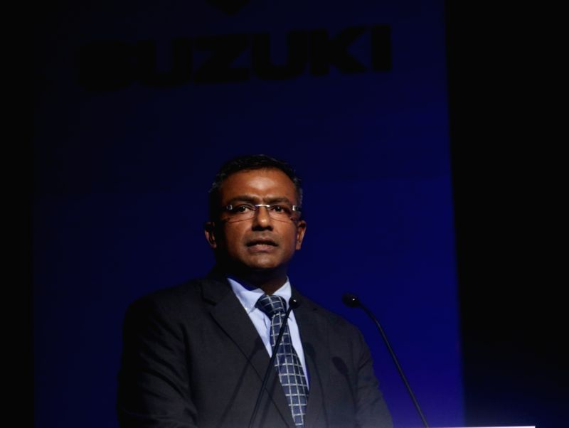 SMIPL Executive Vice-President Sajeev Rajasekharan addresses at the launch of Suzuki Burgman Street 125 Scooter, in New Delhi, on July 19, 2018.