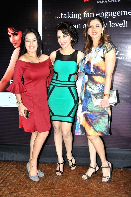 Smita Gondkar with Jyoti Saxena and Sangeeta Kapure during the launch of mobile application, Smita Gondkar app, in Mumbai, on July 22, 2016.