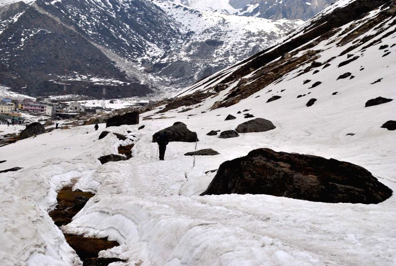 Snow covered stretch at Kedarnath in Rudraprayag of Uttarakhand on May 14, 2014.
