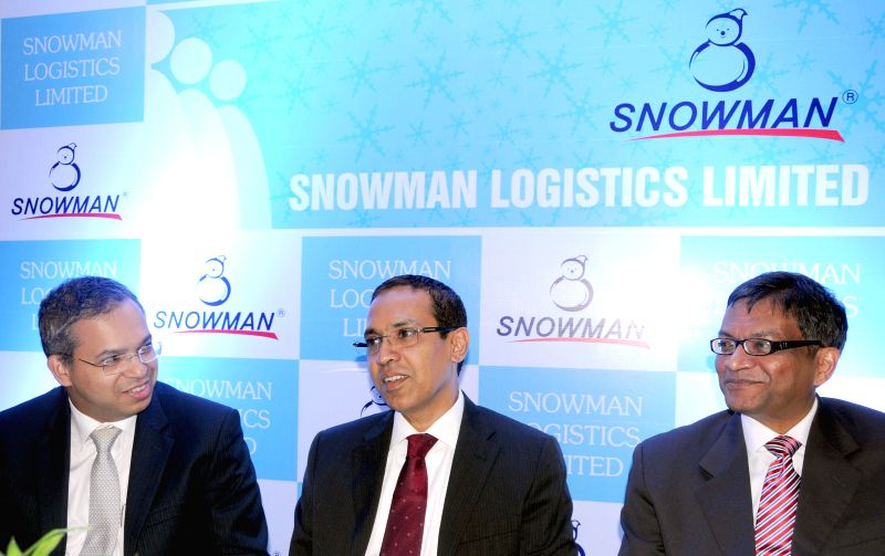 Snowman Logistics Pvt Ltd. CEO Ravi Kannan with company's CFO AM Sundar and Donald D'Souza of HDFC Bank in Bangalore on Aug 25, 2014.