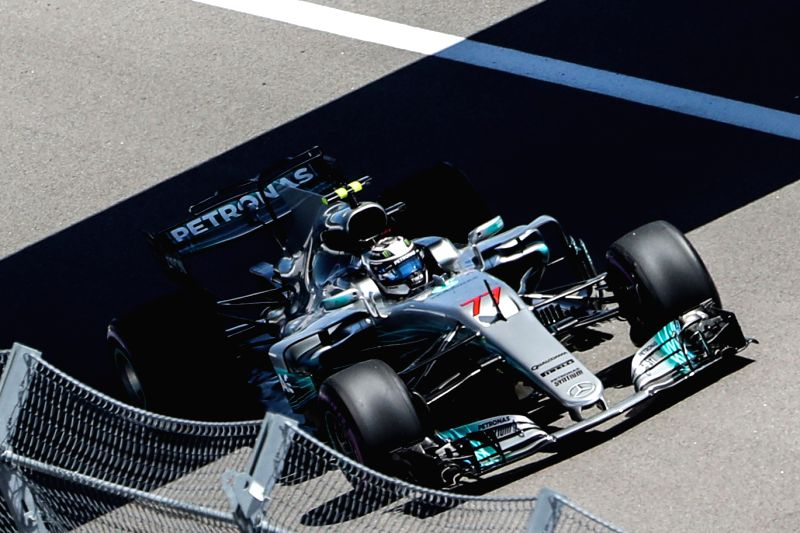 SOCHI, April 29, 2017 - Mercedes driver Valtteri Bottas of Finland races during the third practice session of the Formula One Russian Grand Prix at the Sochi Autodrom circuit in Sochi, Russia, April ...