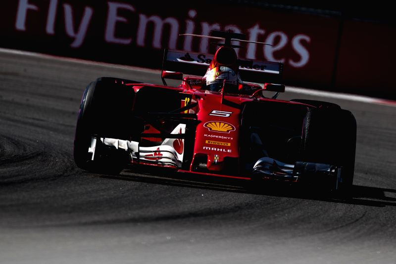 SOCHI, April 30, 2017 - Ferrari driver Sebastian Vettel of Germany drives during the Formula One Russian Grand Prix at the Sochi Autodrom circuit in Sochi, Russia, on April 30, 2017.