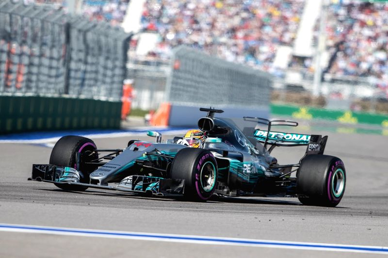 SOCHI, April 30, 2017 - Mercedes driver Lewis Hamilton of Britain drives during the Formula One Russian Grand Prix at the Sochi Autodrom circuit in Sochi, Russia, on April 30, 2017.