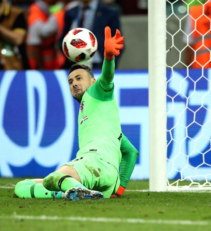 SOCHI, July 7, 2018 - Goalkeeper Danijel Subasic of Croatia saves a penalty kick during the penalty shootout of the 2018 FIFA World Cup quarter-final match between Russia and Croatia in Sochi, ...(Image Source: Xinhua/Wu Zhuang/IANS)