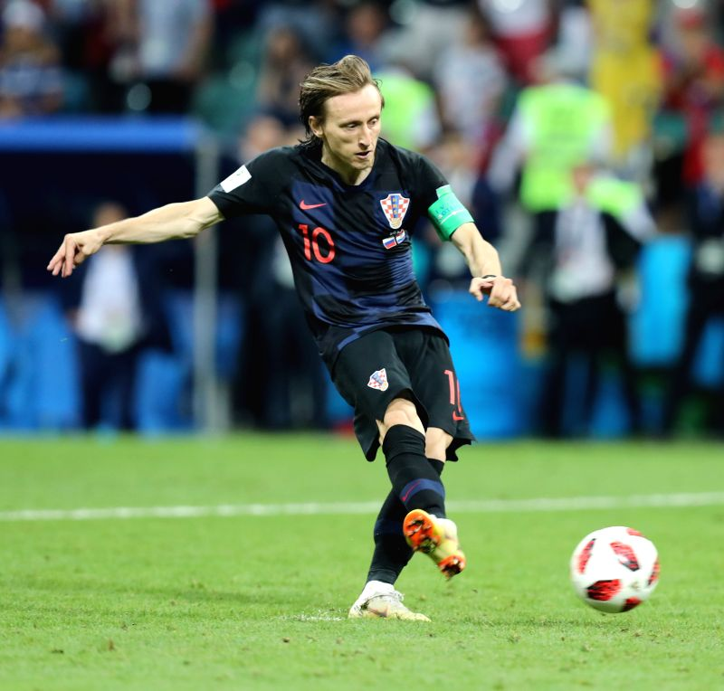 SOCHI, July 7, 2018 - Luka Modric of Croatia shoots a penalty kick during the penalty shootout of the 2018 FIFA World Cup quarter-final match between Russia and Croatia in Sochi, Russia, July 7, ...(Image Source: Xinhua/Yang Lei/IANS)