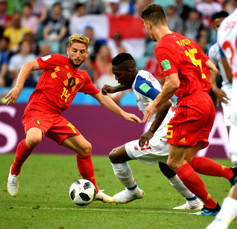 SOCHI, June 18, 2018 - Dries Mertens (L) of Belgium vies with Jose Luis Rodriguez (C) of Panama during a group G match between Belgium and Panama at the 2018 FIFA World Cup in Sochi, Russia, June 18, ...