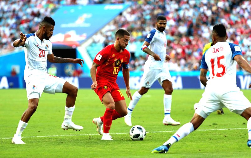 SOCHI, June 18, 2018 - Eden Hazard (2nd L) of Belgium controls the ball during a group G match between Belgium and Panama at the 2018 FIFA World Cup in Sochi, Russia, June 18, 2018.(Image Source: Xinhua/Bai Xueqi/IANS)