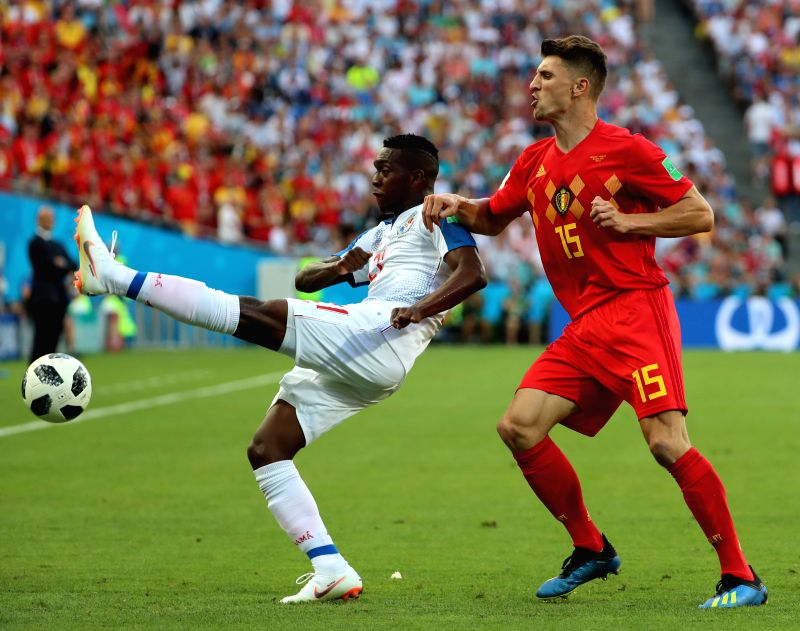 SOCHI, June 18, 2018 - Thomas Meunier (R) of Belgium vies with Jose Luis Rodriguez of Panama during a group G match between Belgium and Panama at the 2018 FIFA World Cup in Sochi, Russia, June 18, ...