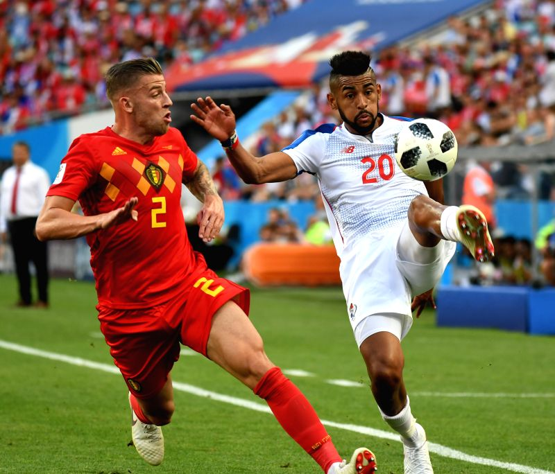 SOCHI, June 18, 2018 - Toby Alderweireld (L) of Belgium vies with Anibal Godoy of Panama during a group G match between Belgium and Panama at the 2018 FIFA World Cup in Sochi, Russia, June 18, 2018.