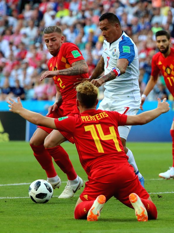 SOCHI, June 18, 2018 - Toby Alderweireld (L top) of Belgium vies with Blas Perez (R top) of Panama during a group G match between Belgium and Panama at the 2018 FIFA World Cup in Sochi, Russia, June ...