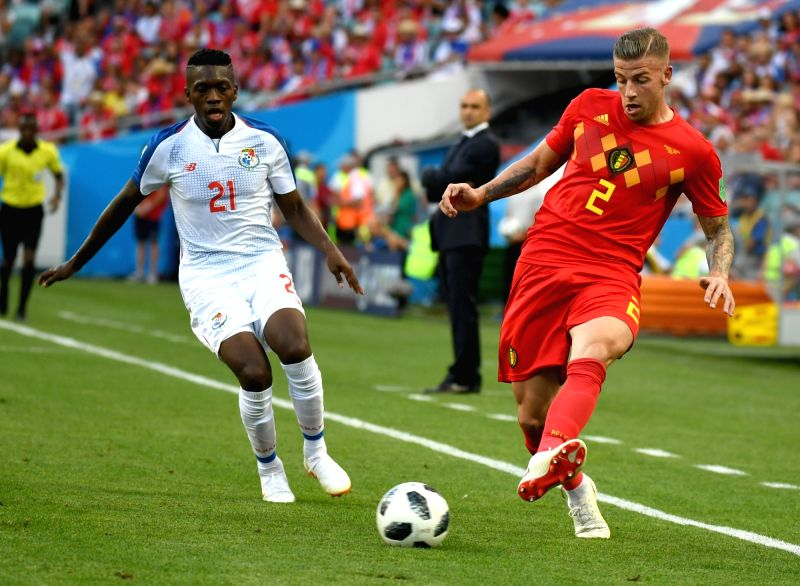 SOCHI, June 18, 2018 - Toby Alderweireld (R) of Belgium vies with Jose Luis Rodriguez of Panama during a group G match between Belgium and Panama at the 2018 FIFA World Cup in Sochi, Russia, June 18, ...