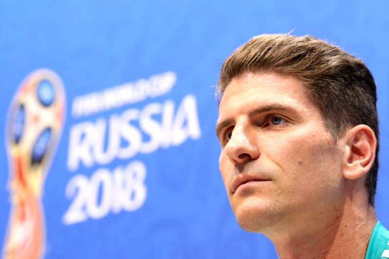 SOCHI, June 22, 2018 - Germany's player Mario Gomez attends a press conference prior to the 2018 FIFA World Cup Group F match between Germany and Sweden in Sochi, Russia, on June 22, 2018.