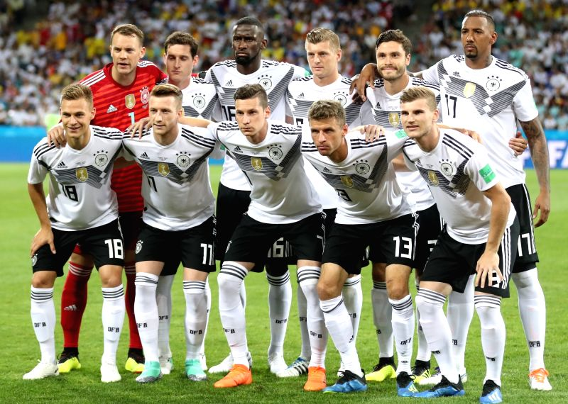 SOCHI, June 23, 2018 - Players of Germany pose for a group photo prior to the 2018 FIFA World Cup Group F match between Germany and Sweden in Sochi, Russia, June 23, 2018.