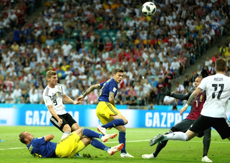 SOCHI, June 23, 2018 - Timo Werner (2nd L) of Germany competes during the 2018 FIFA World Cup Group F match between Germany and Sweden in Sochi, Russia, June 23, 2018.