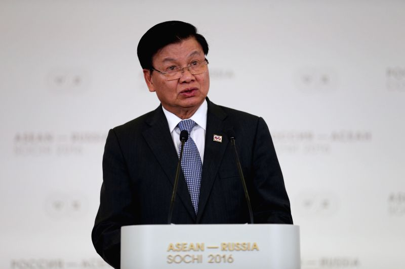 SOCHI, May 20, 2016 - Lao Prime Minister Thongloun Sisoulith speaks during a press conference at the ASEAN-Russia Summit in Sochi, Russia, May 20, 2016. Russian President Vladimir Putin proposed on ... - Thongloun Sisoulith