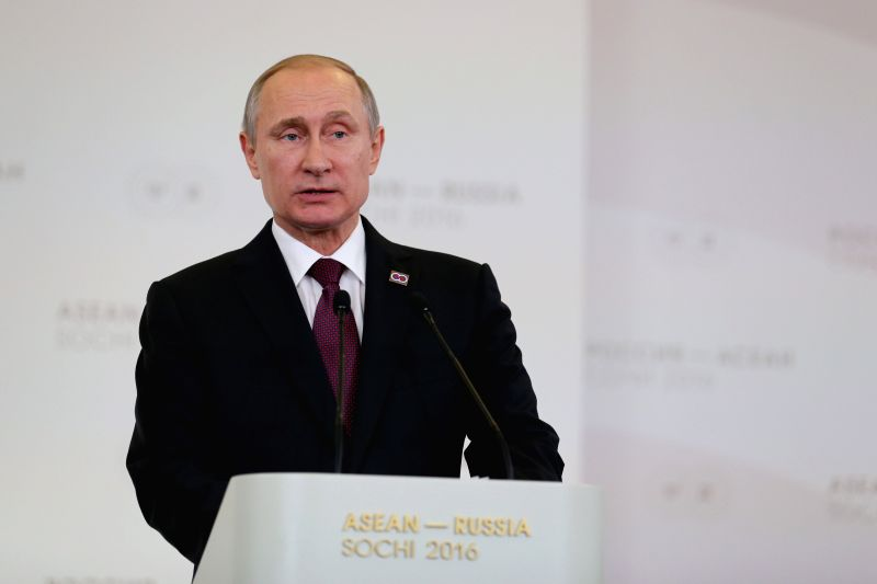 SOCHI, May 20, 2016 - Russian President Vladimir Putin speaks during a press conference at the ASEAN-Russia Summit in Sochi, Russia, May 20, 2016. Russian President Vladimir Putin proposed on Friday ...