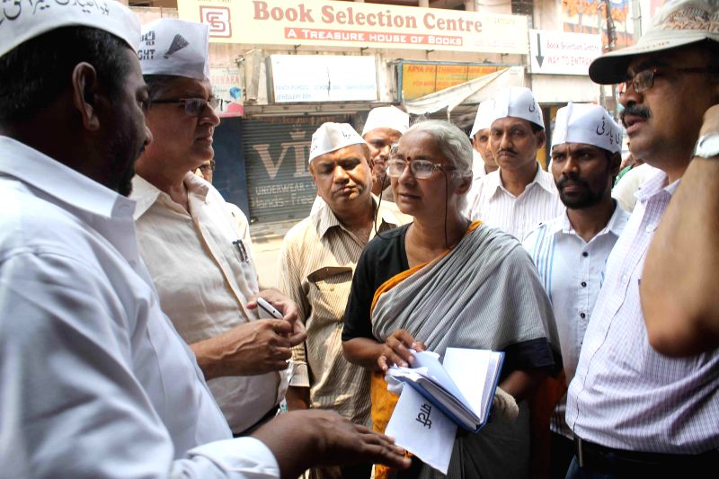 Social activist and Aam Aadmi Party's candidate for Lok Sabha elections from Mumbai North-East constituency Medha Patkar  campaigns for party's candidate ahead of the first phase of Andhra Pradesh ...