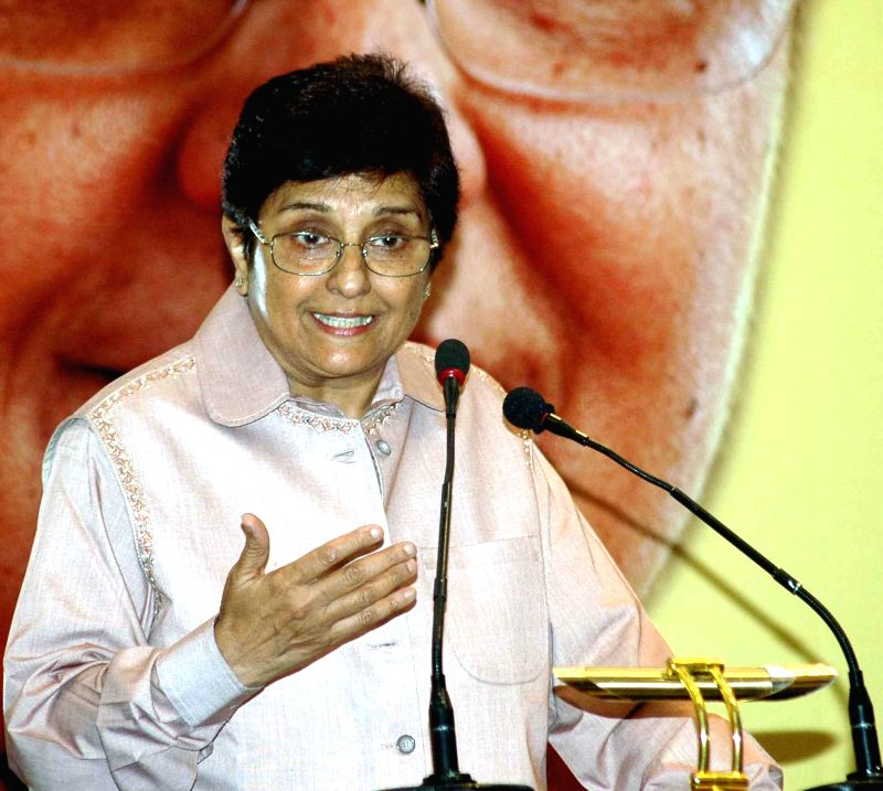 Social activist and retired IPS officer Kiran Bedi addresses during 'Mandating Women Security' a programme organised in Kolkata on April 22, 2014. - Kiran Bedi