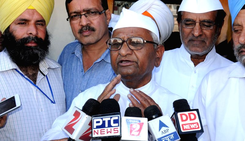 Social activist Anna Hazare addresses a press conference in Amritsar on March 23, 2015.