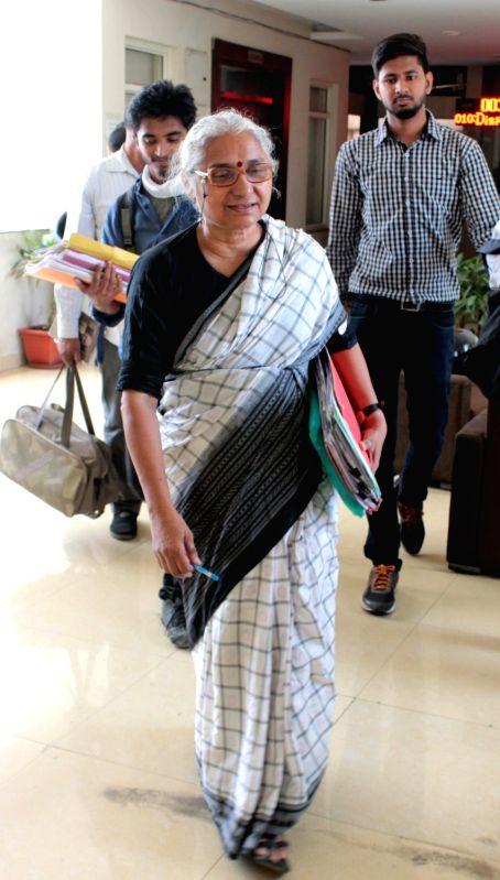 Social activist Medha Patkar arrives at National Green Tribunal (NGT) in connection with a case where she has alleged that rampant illegal sand mining was on in catchment and submergence ...