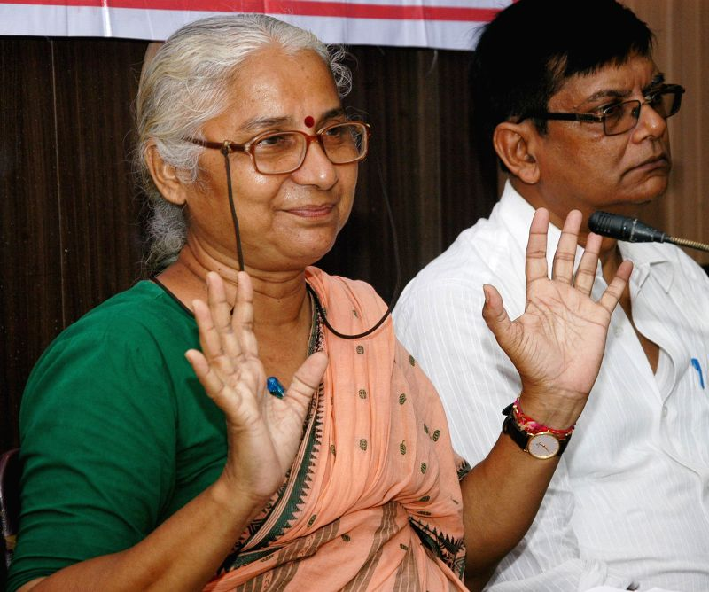 Social activist Medha Patkar during a press conference in Kolkata on Aug 29, 2014.